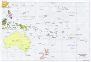 Map of Australia and Oceania